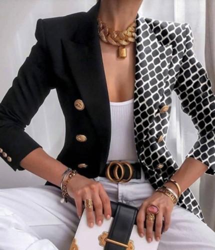 Otoño elegante estampado cuello vuelto negro chaqueta regular