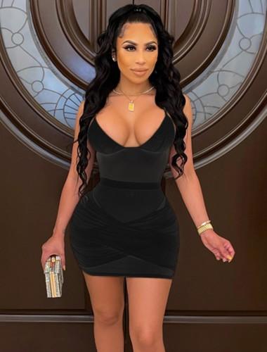 Vestito aderente sexy con cinturino trasparente in rete estiva nera