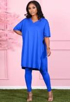 Herbst-lässiges blaues Schlitz-V-Ausschnitt-loses Hemd und passendes Legging-Set