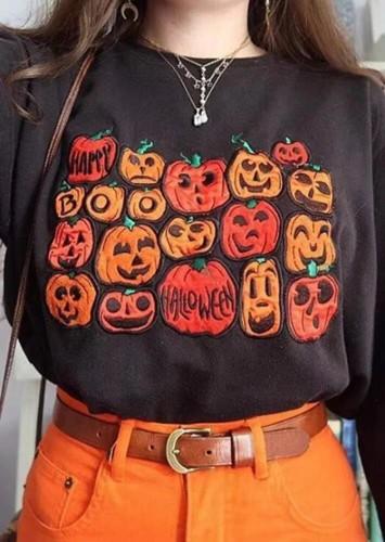 Черный свитшот на Хэллоуин с круглым вырезом и принтом тыквы