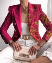 Otoño elegante estampado cuello vuelto rosa chaqueta regular