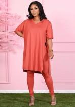 Herbst beiläufiges rotes geschlitztes V-Ausschnitt loses Hemd und passendes Legging-Set