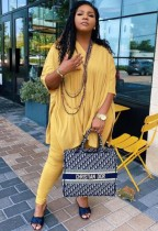 Autumn Casual Yellow Slit V-Neck Loose Shirt and Fit Legging Set