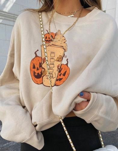Толстовка на Хэллоуин с круглым вырезом и принтом тыквенного мороженого
