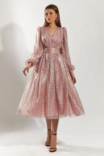 Abito da ballo a maniche lunghe con scollo a V rosa con paillettes formale autunnale