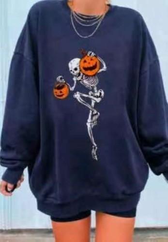 Синий свитшот на Хэллоуин с круглым вырезом и принтом черепа тыквы