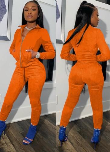 Tuta a maniche lunghe con cerniera arancione invernale con tasche