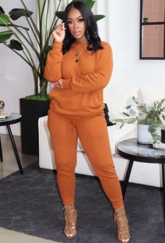 Tuta manica lunga O-Collo arancione invernale