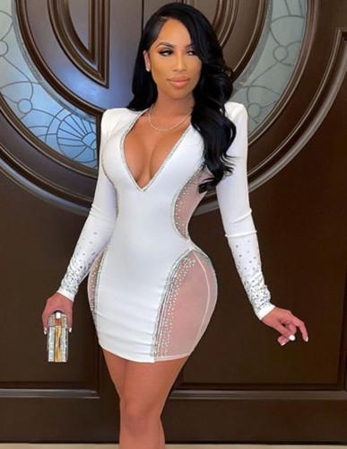Abito da festa a maniche lunghe con scollo a V sexy in rilievo con toppa in rete bianca autunnale