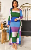 Vestido de tubo de rayas anchas de color en contraste de otoño con cárdigans a juego