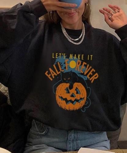 Kürbis-Print Schwarzes O-Neck Halloween Sweattop