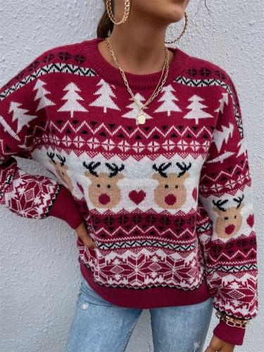 Maglione natalizio rosso con scollo a O con stampa alce di alberi di Babbo Natale