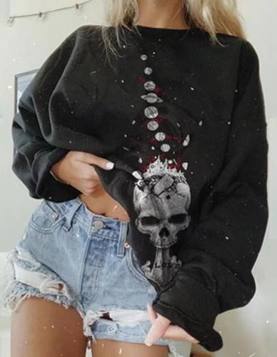 Skull Print Black O-Neck Halloween Sweatshirt