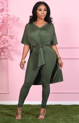 Set di leggings aderenti con scollo a V e scollo a V casual verde autunnale
