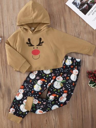 Kinder Mädchen Elch Print Kapuzen-Weihnachtspullover Sweatsuit