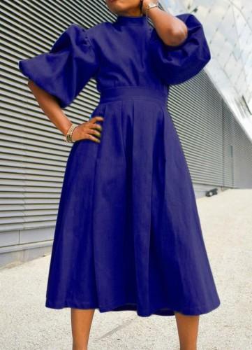 Sonbahar Kraliyet Mavi Balıkçı Yaka Puf Kol Pileli Uzun Patenci Elbisesi