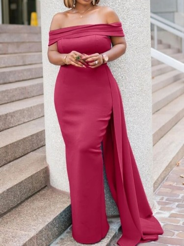 Autumn Red Occassional Off Shoulder Long Evening Gown