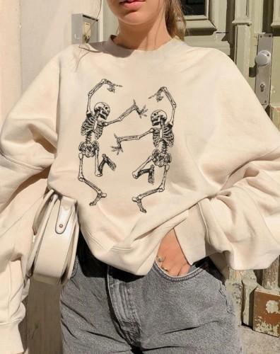 Autumn Skull Print Crewneck Oversize Pullover Halloween Sweatshirt