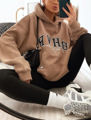 Autumn Print Brown Oversized Pullover Hoody Sweatshirt with Pocket