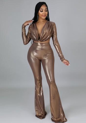 Осенний сексуальный укороченный топ цвета загара и расклешенные брюки с высокой талией 2PC Party Set