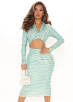 Autumn Print Long Sleeve Cropped Top and Pencil Skirt Set
