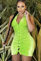 Herbst Sexy Grün Velours Ärmelloses, figurbetontes Kleid mit Knöpfen