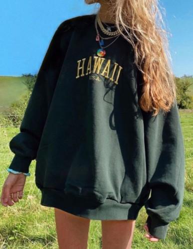 Черный свободный свитшот-пуловер с круглым вырезом Autumn Letter Print