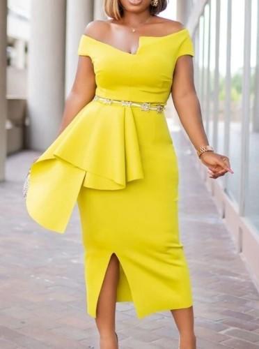 Autumn Yellow Off Shoulder Formal Slit Midi Dress
