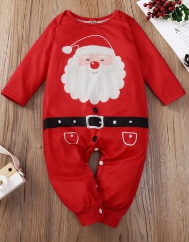 Baby Girl Santa Claus Print Roter Weihnachtsstrampler