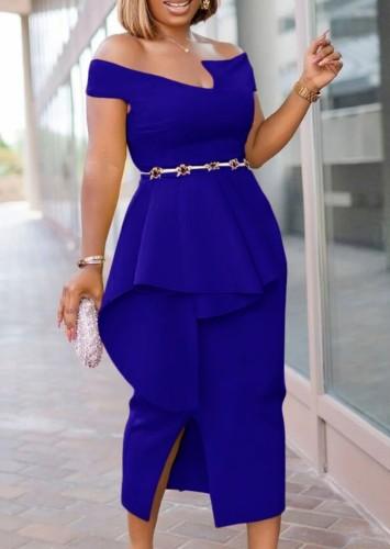 Autumn Royal Blue Off Shoulder Formal Slit Midi Dress