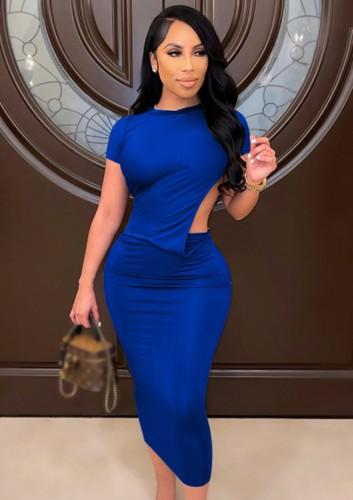 Vestido ajustado largo de manga corta azul con corte sexy de verano