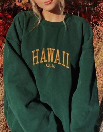 Autumn Letter Print Green Oversized Crewneck Pullover Sweatshirt