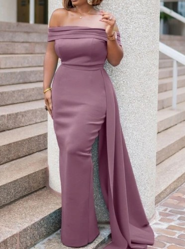 Autumn Purple Occassional Off Shoulder Long Evening Gown