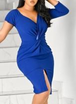 Sommer Formal Blau V-Ausschnitt Schlitz Sexy Wickelkleid