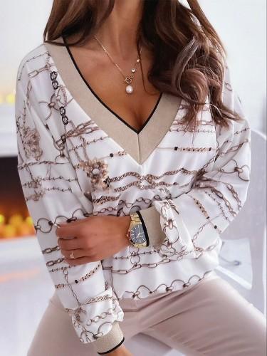 Свитшот-пуловер с V-образным вырезом Autumn Chains