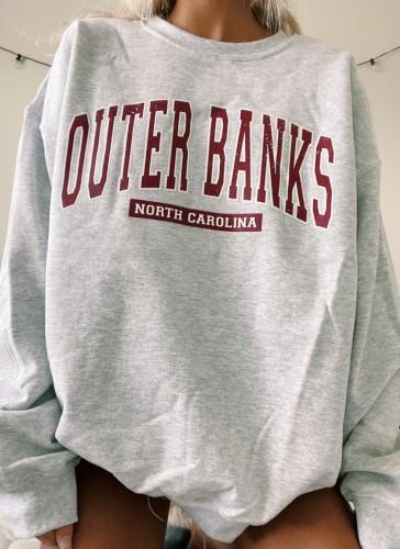 Autumn Letter Print Grey Oversized Crewneck Pullover Sweatshirt