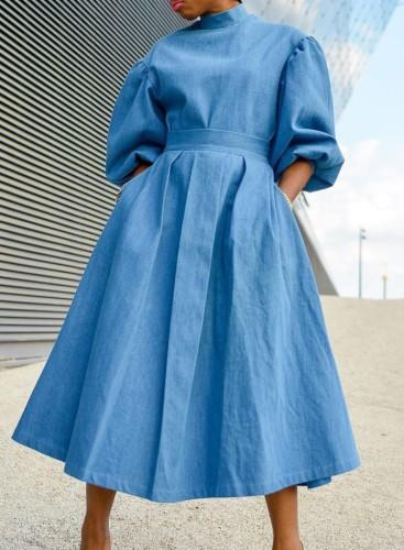 Autumn Sky Blue Turtleneck Puff Sleeve Pleated Long Skater Dress