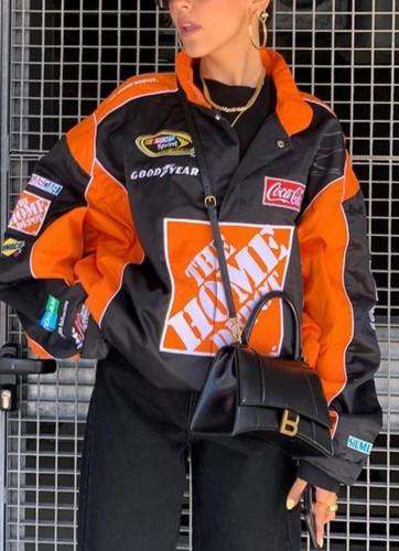 Autumn Contrast Color Print Oversized Zipper Sports Jacket