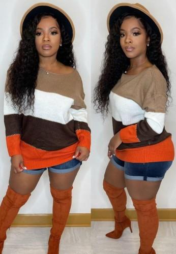 Осенний пуловер с круглым вырезом и широкими полосками контрастного цвета