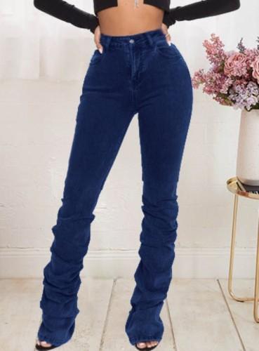 Jeans de pila de cintura alta de otoño azul