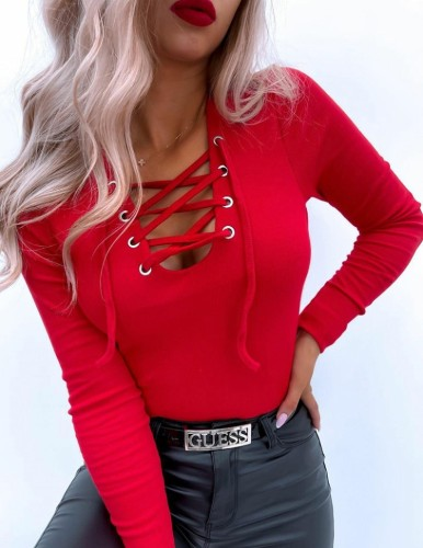 Autumn Red Lace-Up Long Sleeve Basic Top