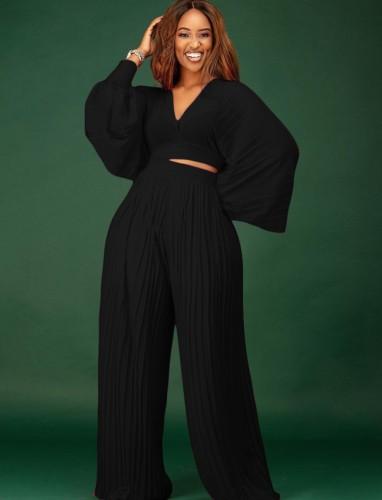 Sonbahar Siyah Arasıra Pilili Puf Kol Kırpılmış Üst ve Yüksek Bel Pantolon Takım