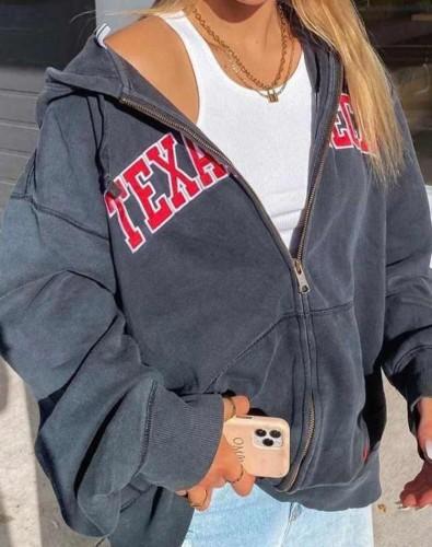 Autumn Letter Print Hoody Zipped Sports Jacket