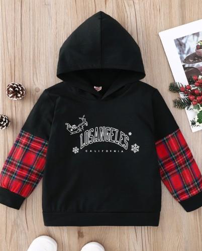 Kinder Mädchen Elch Print Schwarz Weihnachten Pullover Kapuzenpullover