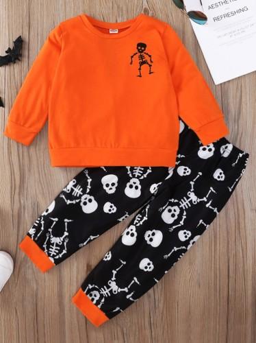 Kinder Mädchen Totenkopf Print Top und Hose 2PC Halloween Anzug