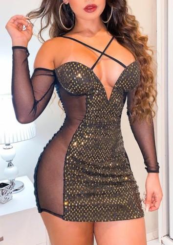 Vestido de fiesta con cuello halter de lentejuelas negras y doradas con parche de malla sexy de otoño