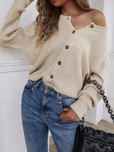 Winter Casual Khaki Button Up Sweater