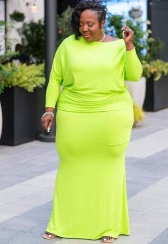 Güz Büyük Beden Düz Yeşil Uzun Kol Tam Maksi Elbise