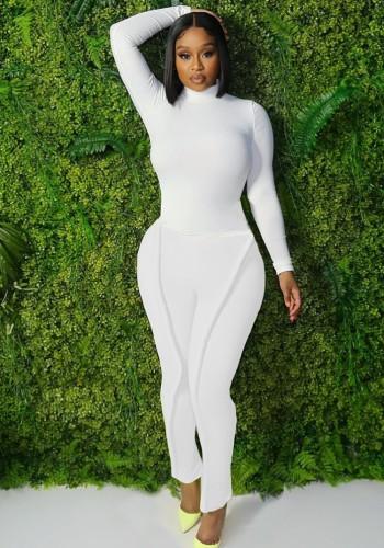 Fall Causal White High Collar Long Sleeve Slim Top And Tube Citron Pant Matching Set