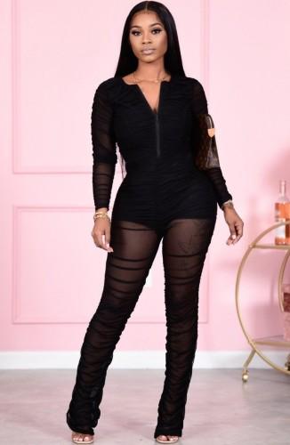 Fall Sexy Black Zipper Up Wrinkle Long Sleeve Jumpsuit
